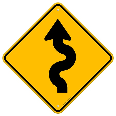 risks ahead: Winding Road Sign Illustration