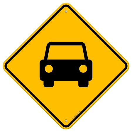 caution sign: Yellow Sign with Car Illustration
