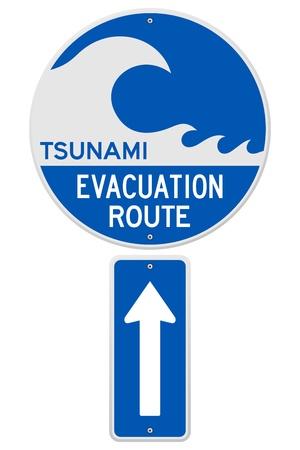 evacuatie: Tsunami vluchtroute Stock Illustratie