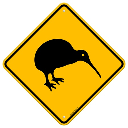 flightless bird: Kiwi Yellow Sign