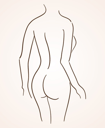 naked female body: Female Body Silhouette Illustration