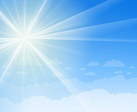 青い空と太陽の光