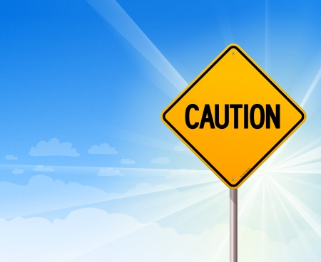Caution on blue sky background Vector