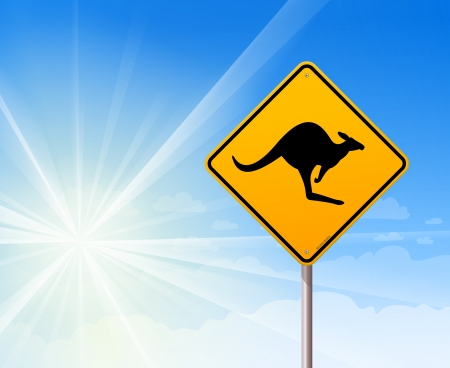 Kangaroo sign on blue sky Vector