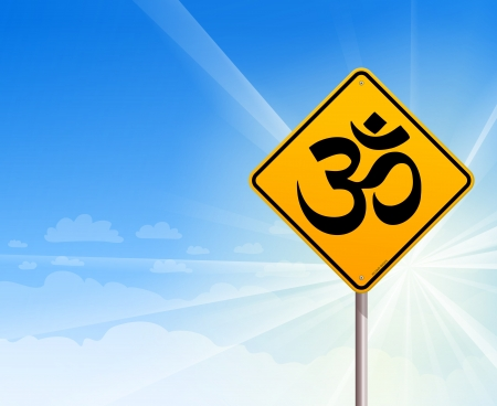 ohm: Om Yoga sign and blue sky