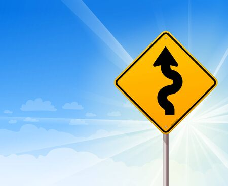 Winding road sign on blue sky Vector