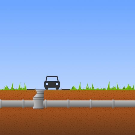 drenaggio: Tubi in cemento Vettoriali