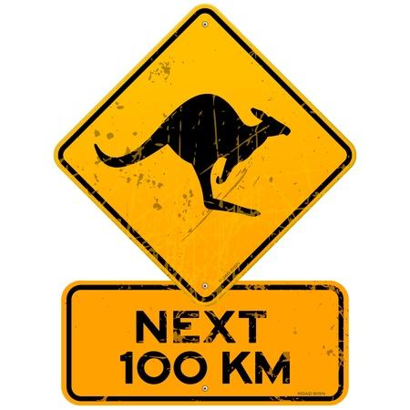 Kangourous roadsign Suivant 100 km