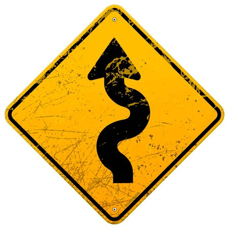 hazard damage: Vintage winding roadsign