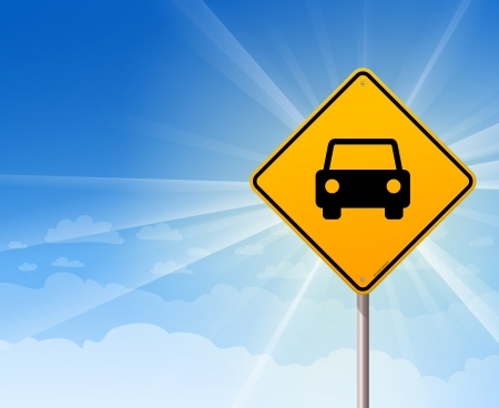blank road sign: Car Roadsign on Blue Sky Illustration