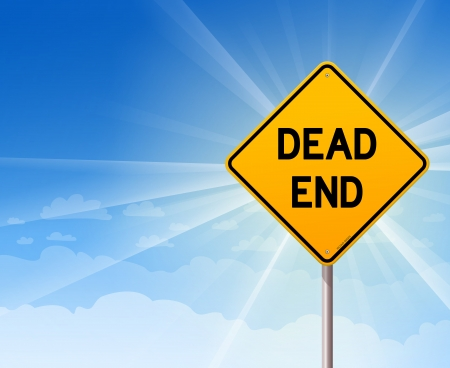 dead end: Dead End Sign and Blue Sky