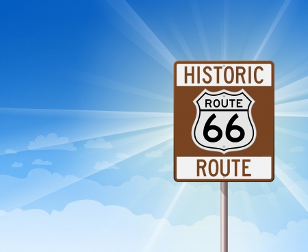 Historic Route 66 and Blue Sky Vector