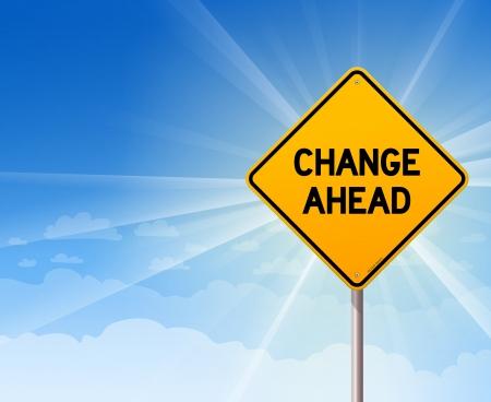 change concept: Cambiar Ahead Roadsign en el cielo azul