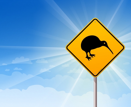 Kiwi Bird Yellow Sign on Blue Stock Vector - 14721743