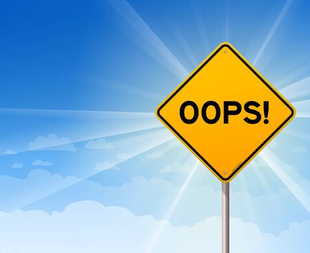 Oops Yellow Sign on Blue Sky Stock Vector - 14721744