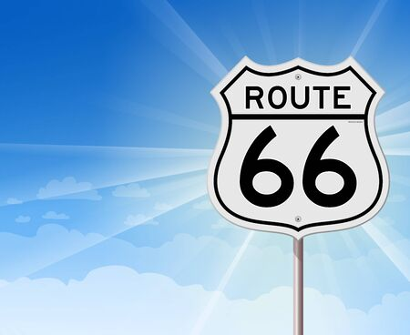 Route 66 Roadsign on Blue Sky Vector