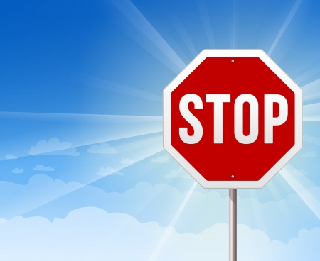 red sign: Stop Roadsign on Blue Sky Background