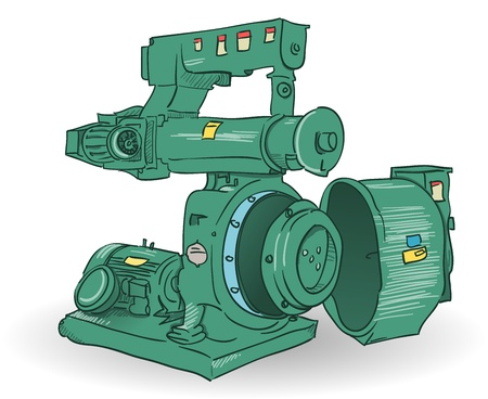 Industrial Machine Illustration Vector
