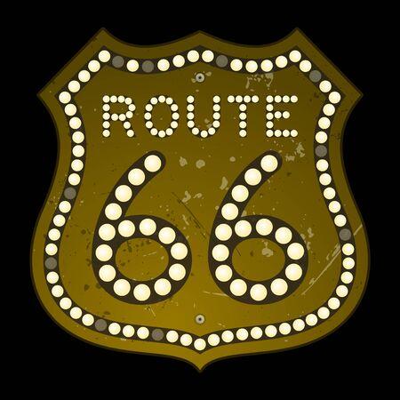 Illuminated Route 66 Sign Illustration