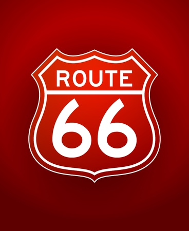 interstate: Red Route 66 Silhouette Illustration