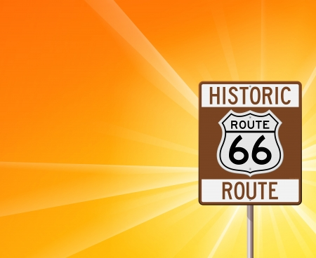 Historic Route 66 on Yellow Vector