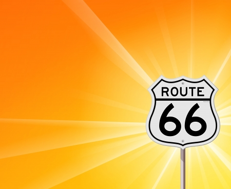 Route 66 Sign and Sunshine Vector