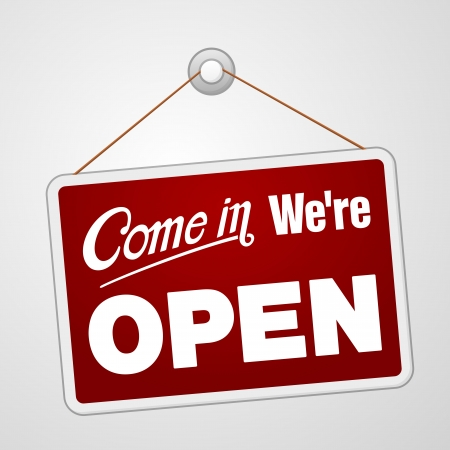 welcome door: We Open Sign Illustration