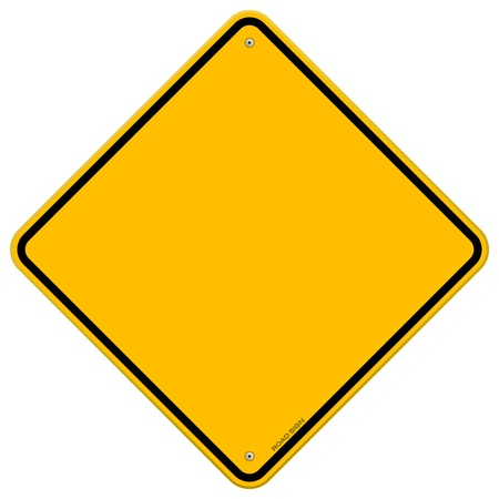 Isolated Blank Yellow Sign Illustration