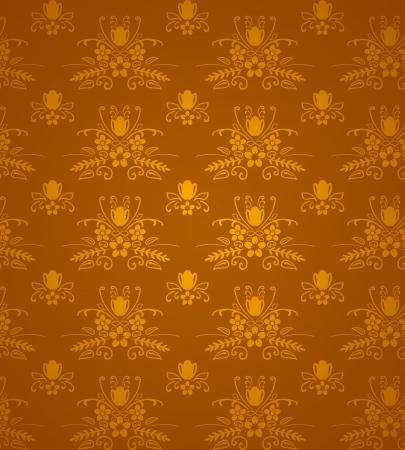 Gold Damask Pattern Stock Vector - 15149255
