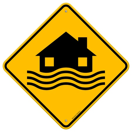 damages: Flood Disaster Yellow Sign