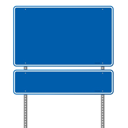the roadside: Blank Blue Road Sign Illustration