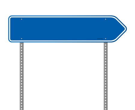 sign pole: Blue Directional Road Sign