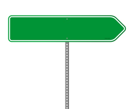 directional: Empty Green Direction Sign