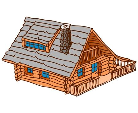 孤立した木製キャビン  イラスト・ベクター素材