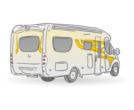 motorhome: Illustrazione del veicolo di ricreazione Vettoriali