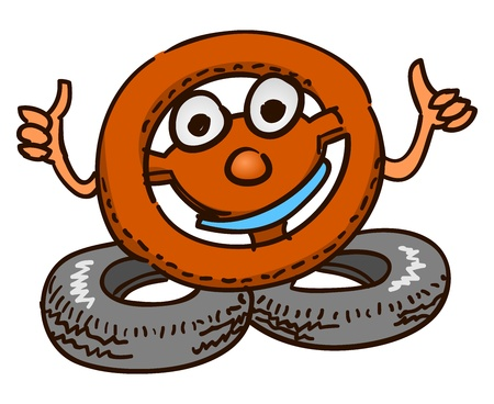 Steering Wheel Mascot Vector