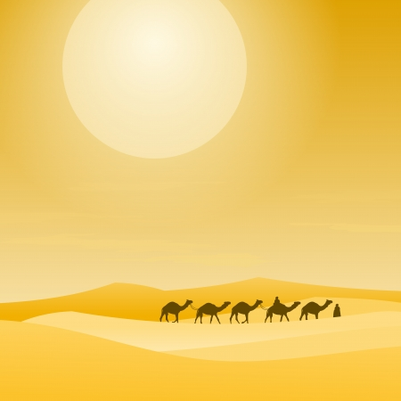 camel silhouette: Caravan With Sand Dunes