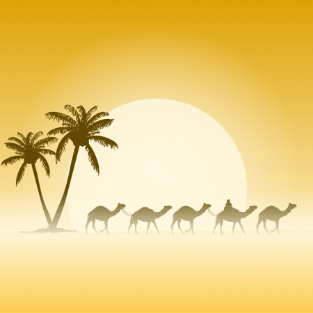 sahara: Camels and Palms Illustration