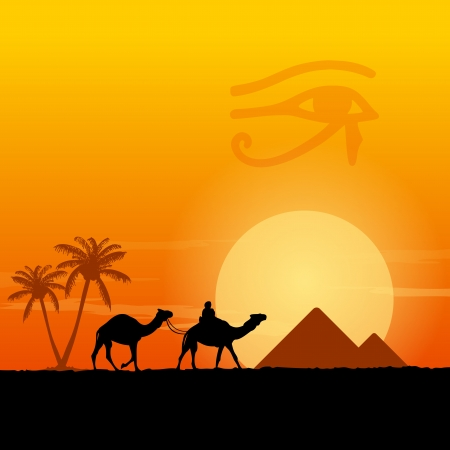 desert sunset: Egypt symbols and Pyramids Illustration