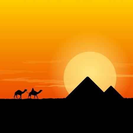 pyramid peak: Camel Caravan and Pyramid Illustration