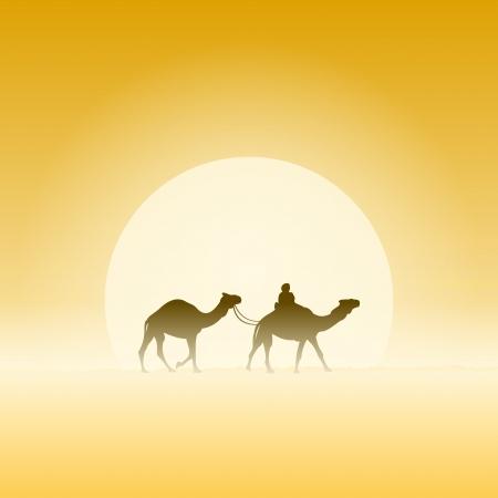 2 つのラクダと太陽  イラスト・ベクター素材