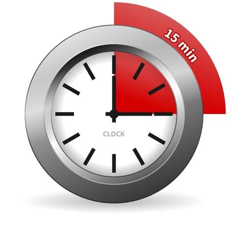 메달: 시계 15 분 이동하려면 일러스트