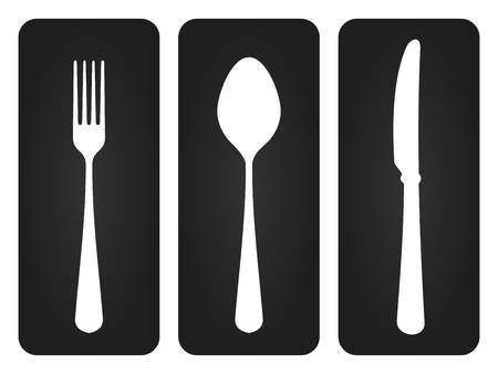 knife and fork: Cutlery Set in Black Illustration