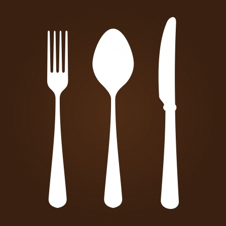 vintage cutlery: Fork Knife and Spoon Illustration