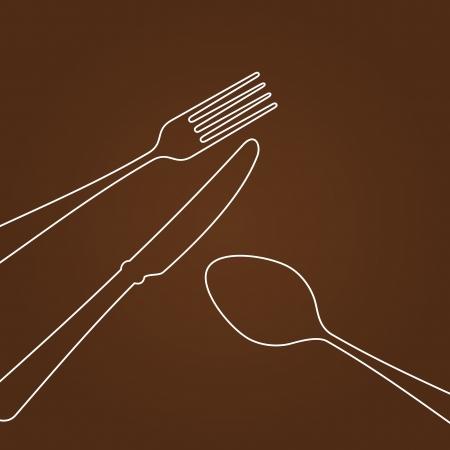 Líneas que forman Cubiertos Ilustración de vector