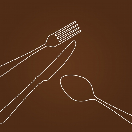 fork and spoon: Lines forming Cutlery Illustration