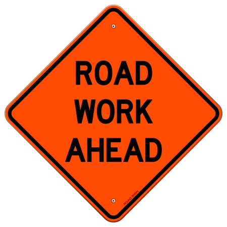 men at work sign: Road Work Ahead Sign Illustration