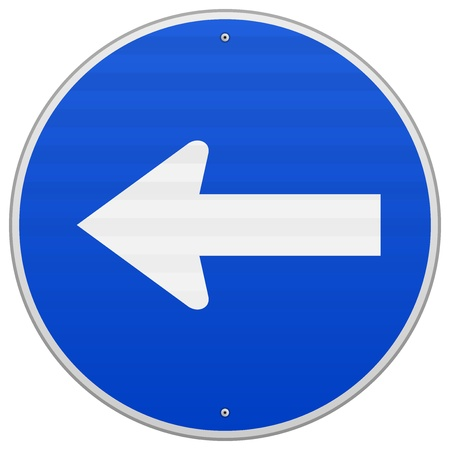 directing: Blue Sign with Arrow Left