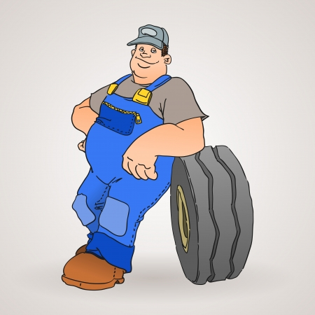Car Mechanic with Tyre Иллюстрация