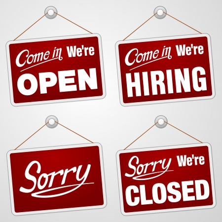 hiring: Red Isolated Signs Set
